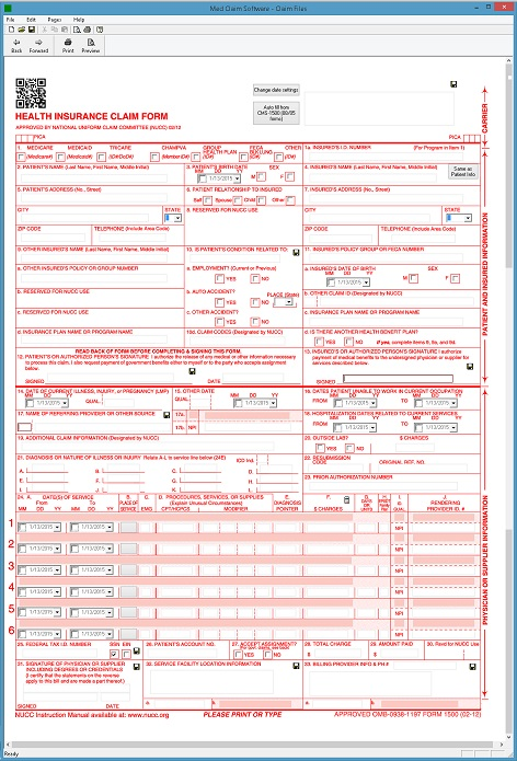 CMS 1500 Health Claim Form Software - $69